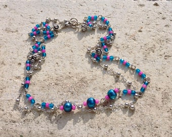 long or double strand rosary necklace, blue pearls and fuchsia seed beads necklace, multistrand bracelet, boho necklace, Coachella style