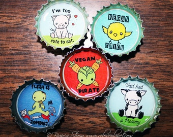 "Vegan 1"" Bottle cap Magnet Set of 5 -- Veg Kawaii Cute Animals Positive"