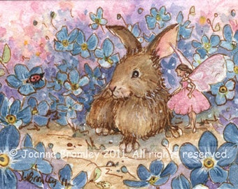 "ACEO Rosey and Tapper, 3.5x2.5"", Limited Edition Print, whimsical fairy bunny fantasy illustration"