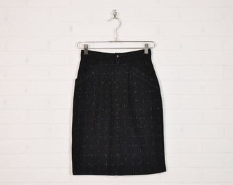Vintage 80s Black Pencil Skirt High Waist Skirt Wiggle Skirt Bodycon Skirt Black Wool Skirt Secretary Skirt New Wave Skirt XS Extra Small