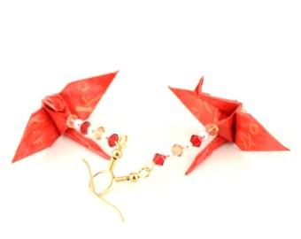 Harmony Kanji on Red Origami Crane Earrings Gold Plated Hooks Jewelry