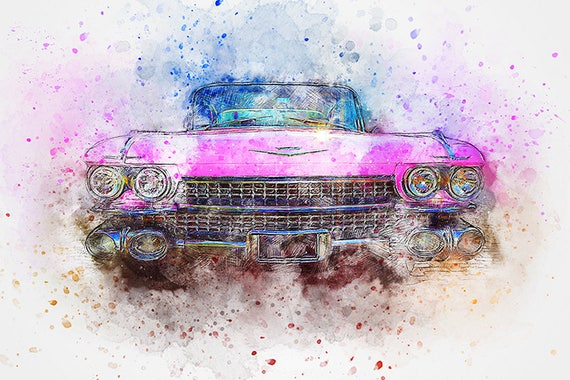 pink cadillac watercolor art print