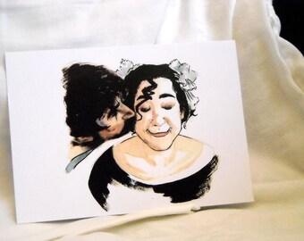 Kiss Illustration Drawing Portrait - print 4X6 inch (10x15 cm) valentine card