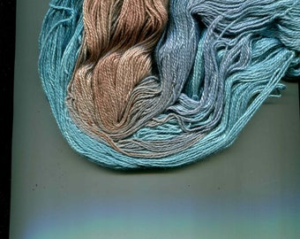 Handmaiden Yarn Silk Cashmere Turquoise Color Glacier 2 Ply Hand Dyed in Canada