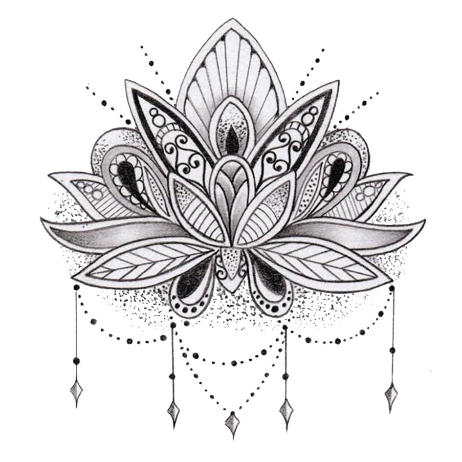 Sets lotus flower temporary tattoos zoom mightylinksfo