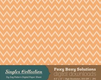Orange Zig Zag Printable Digital Paper - Instant Download Supply for Scrapbooking & Crafting - Single Sheet Paper Printables