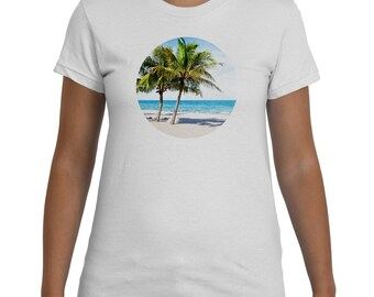 Palm Tree Beach White TShirt Women