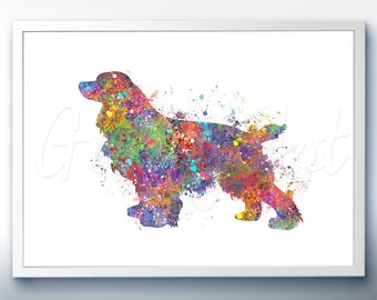 Cocker spaniel Watercolor Art Print - Home Living - Animal Painting - Dog Poster - Wall Decor - Home Decor - House Warming Gift