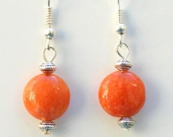 Orange Jade Gemstone Earrings with Sterling Silver Hooks New Drops LB2