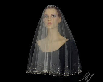 Drop Veil with Gradient Pearl Border, Made With SWAROVSKI ELEMENTS