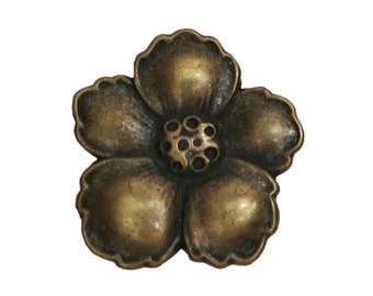6 Hibiscus 9/16 inch ( 14 mm ) Metal Buttons  Antique Brass Color