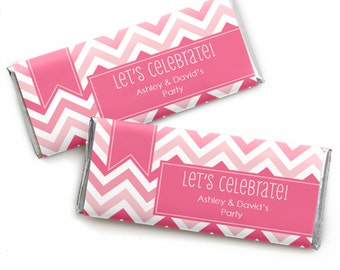 24 Chevron Pink Custom Candy Bar Wrappers - Personalized Baby Shower,  Birthday Party, or Bridal Shower Favors