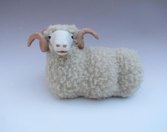 Colin's Creatures Handmade Porcelain Sheep Figurines, English Horned Dorset Lying