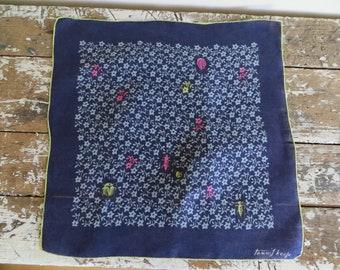 Tammis Keefe Handkerchief Blue Floral with Bugs Vintage hankie retro hankie blue hankie ladybug