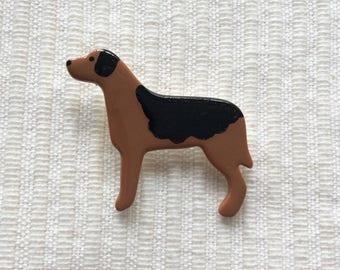 Brown Dog Brooch, dog gifts, handmade brooch, ceramic brooch, Mothers Day Gift, Valentines Gift.