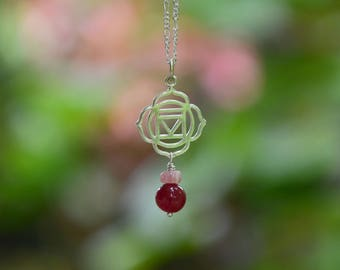 Root Chakra Charm with Ruby and Rhodochrosite - Sterling Silver Charm & Chain ~ Muladhara