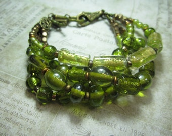 Lime Green Foiled beaded four stramded Boho Bracelet