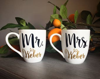 Mr and Mrs Mugs, Engagement Gift for Couple, Wedding Gift for Couple, Wedding Mugs
