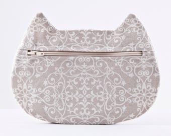 Damask Cosmetic Bag, Beige Makeup Bag, Floral Pencil Case, Boho Bag, Cat Lover Gift, Zipper Bag, Toiletries Bag, Cat Bag Gifts for Travelers