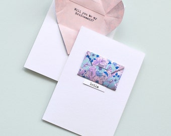 Personalised bridesmaid card with secret message origami heart