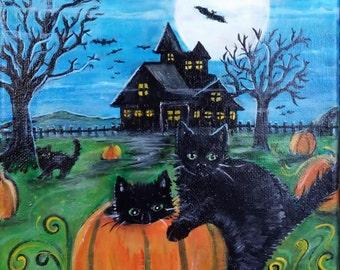 Scaredy Cats Original Painting  Free Shipping USA