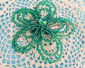 Green beaded flower barrette, beaded hair clip, handmade beaded flower,