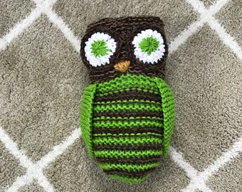 Hand knit stuffed owl