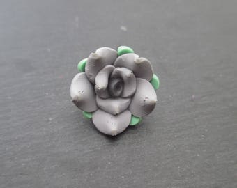 Fimo flowers gray with gray heart 20 mm in packs of 4