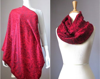 Nursing cover, nursing scarf, breastfeeding cover, infinity scarf, red scarf, paisley scarf