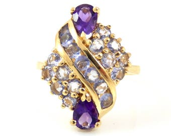 Amethyst Cluster Ring 14K - 9233