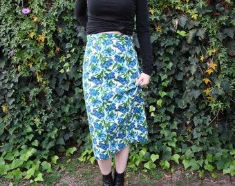 60's vintage floral wiggle midi skirt