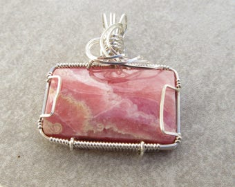 Rhodochrosite Pendant,  Wire Wrapped Pendant, Rhodochrosite  Necklace, Gemstone Pendant, Rhodochrosite Jewelry, Pink Gemstone Jewelry