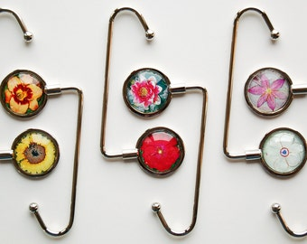 Purse Hanger Floral Photographic Art - Choose Your Image, Flower Purse Hook, Sunflower, Daffodil, Waterlily, Rose, Daylily, Rain Lily