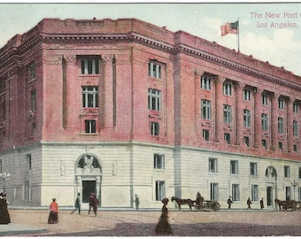 The New Post Office Los Angeles California 1910 Period Clothes Horse and Buggy 100 YEARS OLD Vintage Postcard Antique Postcard