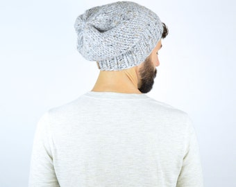 Chunky Knit Men's Slouch Hat Beanie // The PORTLAND // Grey Marble