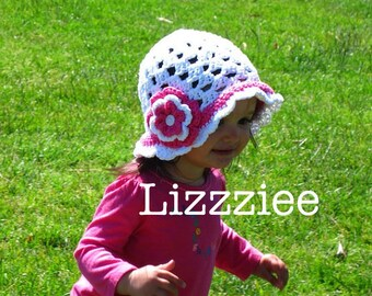 Scalloped edge sun hat crochet pattern - Instructions for super cute, easy girls hats - baby toddler child teen - Instant Digital Download