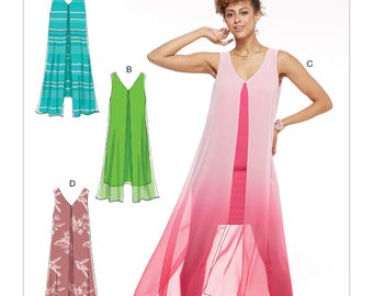 McCall's Sewing Pattern M7594 Misses' Sleeveless V-Neck Pullover Dresses with Overlay