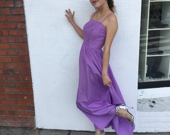 Lavender Spaghetti Strap Evening Dress With Floral Embroidered Bust // 1980s // Flowy