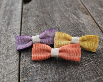 Botanically colored/ naturally dyed/ bow/ clips