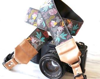 Grey Floral Designer DSLR Camera Strap with Camera Hand Strap -- 1.5 inches wide Cool Camera Strap -- Camera Neck Strap -- The 'Julia'