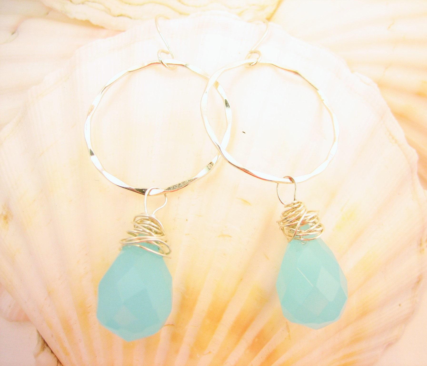 Gypsy hoop hammered silver earrings with aqua blue chalcedony genuine gemstone, dangle open circle artisan handmade hammered silver earrings