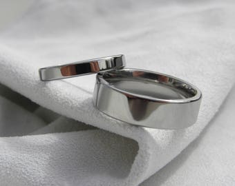 Ring Set, Titanium Wedding Bands, Polished Mirror Finish, Wedding Set