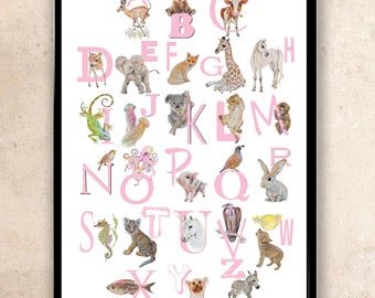 ABC Wall Art Animal Alphabet Nursery Art Girl Nursery Decor Alphabet Poster A-Z Animal Letters Woodland Safari Animals Alphabet Print  Pink