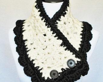 Cream, Black Scalloped Edge Button Cowl, Crochet Neck Warmer, Wrap Scarf