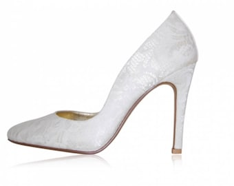 Peeptoe Shoes Bridal Collection - Cream lace & leather pumps - EU 40 - NEW