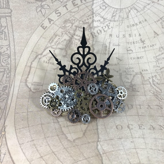 Steampunk Gears and Clock Hand Crown Barrette
