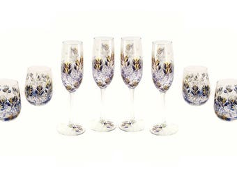 8 Piece Beverage Set Hand Painted Navy Blue and Gold Iced Tea Glasses Alcohol Free Gifts, Sober Celebrations Custom 50th Anniversary Gift