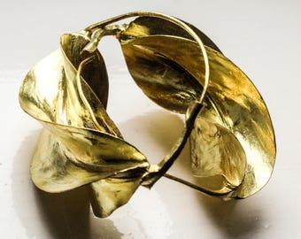 Gold Brass Fulani Earrings / Fulani Tribal Earring / Large Gold Hoop Earrings  / Ethnic Bronze Earrings / African Jewellery / Mali Earrings