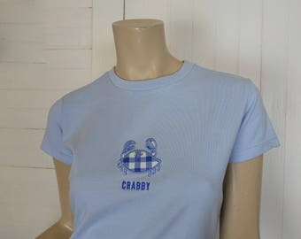 90s Baby Tee by Lilly Pulitzer- 1990s Vintage Nautical Gingham Crab T-shirt w/ Jewels- Buffy / Club- Light Blue Preppy Clueless Buffy