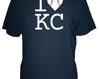 I Love Kansas City Baseball Mens Organic Shirt - Organic T Shirt - Bamboo and Cotton Mens Tshirt - Gift Friendly